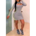 New Stylish Gray Striped Pattern Long Sleeve Midi Bodycon Two-Piece Dress with Hood