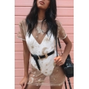 Funny Khaki Sequined Moon Stars Pattern Short Sleeve Mini Sheer Mesh T-Shirt Dress for Nightclub