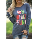 Womens Blue Creative Letter OH WHAT FUN Printed Long Sleeve Graphic Christmas T-Shirt