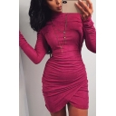 Womens Simple Plain Long Sleeve Mock Neck Ruched Tulip Hem Mini Bodycon Dress