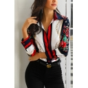 Red Floral Striped Chain Pattern Long Sleeve Button Down Loose Shirt Top for Ladies