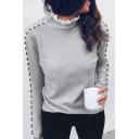 Ladies Chic Lace Panelled Collar Pearl Decorated Hollow Out Long Sleeve Pullover Sweatshirt Gray T-Shirt