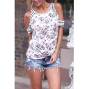 Simple Striped Cold Shoulder Short Sleeve Floral Printed Slim Fit Casual Streetwear T-Shirt