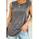 Womens Summer Cool Broken Hole Detail Sleeveless Crew Neck Plain Loose Tank Top