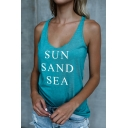 Womens Blue Chic Letter SUN SAND SEA Printed Scoop Neck Sleeveless Slim Fitted Tank Top