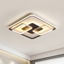 Black and White Geometric Flushmount Contemporary Metal Led Living Room Lighting in Warm/White Light, 18