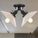 Flared White Glass Ceiling Flush Mount Vintage Style 2 Lights Black/Bronze Finish Semi Flush Mount Light