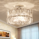 Ribbed Ice Cube Flush Ceiling Light Minimal 6 Lights Clear Crystal Flush Mount for Bedroom
