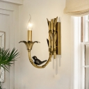 Rustic Candle Sconce Light 1 Bulb Metal Wall Mounted Lighting in Brass for Bedroom with Bamboo Shape Backplate
