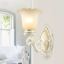 Traditional Flower Wall Light 1/2 Lights Opal Glass Wall Mounted Light in Ivory