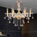6 Heads Candelabra Chandelier Lighting Traditional Gold Crystal Orb Hanging Light Fixture