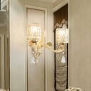 Modern Cylinder Wall Light Clear Dimpled Glass 1/2 Heads Living Room Sconce Light with Crystal Drop in Gold