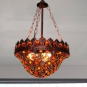 Bohemia Foyer Pendant Light with Bowl Shaped Shade Crystal and Metal 3 Lights Suspension Lamp in Copper