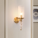 Cylindrical Clear Glass Shade Wall Mounted Lighting Vintage 1 Bulb Wall Lighting Fixture in Brass for Bedside