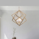 Prismatic/Rhombus Cage Shade Pendant Light Fixture Industrial Metal 4 Lights Suspension Light in Gold