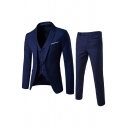 Mens Cool Plain Navy Long Sleeve Button Down Suit with Pants Three Piece Wedding Blazer Set