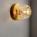 Faceted Global Wall Lamp Modernist Style Clear Glass 1 Light Gold Finish Wall Lighting Fixture for Dining Room