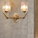 1/2-Head Corridor Wall Light Fixture Lodge Style Gold Finish Wall Sconce with Cylinder Clear Glass Shade