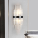 Dual-Layered Wall Sconce Lamp Modern Stylish Clear Crystal 2 Lights Black Finish Wall Light Fixture