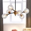 Bubble Chandelier Light Minimalist Clear/Amber/Smoke Gray Glass 10 Heads Dining Room Hanging Lamp
