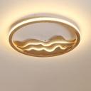 Beige/White Circle Flush Mount Light Modern 13