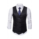 Mens Simple Plain Sleeveless V-Neck Single Breasted Slim Fitted Suit Waistcoat
