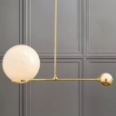 Beige Glass Sphere Hanging Lamp Kit Nordic 1 Head Gold Pendant Lighting for Bedroom