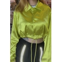 Fashion Street Long Sleeve Point Collar Button Down Drawstring Bow-Tie Green Flared Crop Top  For Women
