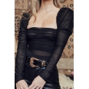 Black Sexy Women's Puff Sleeve Square Neck See Through Mesh Pleated Zip Back Fitted Bodysuit for Party