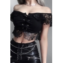 Sexy Dark Bell Sleeve Off The Shoulder Lace Up Lace Trim Hollow Knit Black Fitted Crop Tee for Women