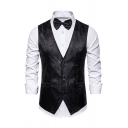 Mens Popular Solid Color Button-Up Jacquard Blazer Waistcoat with Welt Pocket