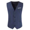 Mens New Stylish Plain Sleeveless Single Breasted Slim Fit Navy Blazer Waistcoat