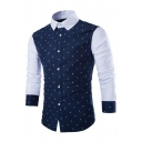 Mens Casual Skull Print Colorblock Long Sleeve Turndown Collar Button Down Slim Fit Shirt