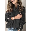 Womens Winter Fashionable Plain Turtleneck Long Sleeve Button Cuff Loose Pullover Sweater