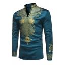 Male African Fashion Dashiki Star Print Stand Collar Long Sleeve Slim Fit Tunic Tribal Shirt