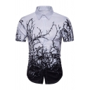 Personality Branch 3D Printed Short Sleeve Button Up White and Black Fitted Shirt