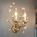 Clear Crystal Branch Flush Wall Sconce with Candle Vintage 2 Heads Wall Mount Lamp in Antique Brass