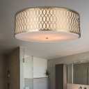 White 4/3-Light Flush Light Traditional Fabric Round Ceiling Mounted Lamp with Gold Metal Mesh Frame, 16