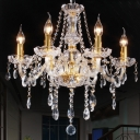 Victorian Style Curvy Armed Crystal Chandelier 6 Heads Golden Drop Pendant Light Fixture