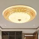 White Circular Ceiling Light Minimalist Crystal 23.5