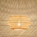 Handmade Lantern Hanging Ceiling Light Bamboo 1 Light Indoor Pendant Lighting in Wood for Tea Room