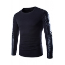 Mens Designer PU Leather Patch Long Sleeve Crew Neck Slim Fit Black T-Shirt