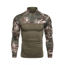 Mens Active Camouflage Patched Long Sleeve Zip Placket Slim Outdoor Fitness T-Shirt