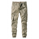Male Popular Solid Color Khaki Zip Front Side Pocket Casual Thick Cargo Pocket