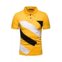Guys Summer Wide Striped Printed Lapel Collar Short Sleeve Button Closure Polo Shirt