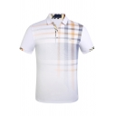 Mens Creative Contrast Plaid Pattern Short Sleeve Slim Fitted Polo Shirt