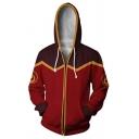 Mens Leisure Cartoon Fire Logo 3D Print Color Block Long Sleeve Zip Up Drawstring Hoodie