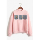 Spoof Van Gogh Famous Oil Painting Print Long Sleeve Pink Pullover Sweatshirt