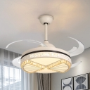 Cutout Semi Flush Fan Light Modern Beveled Crystal 8 Blade Apricot LED Indoor Lighting