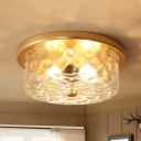 3 Bulbs Drum Ceiling Mount Colonial Brass Clear Dimple Glass Flush Light Fixture for Living Room